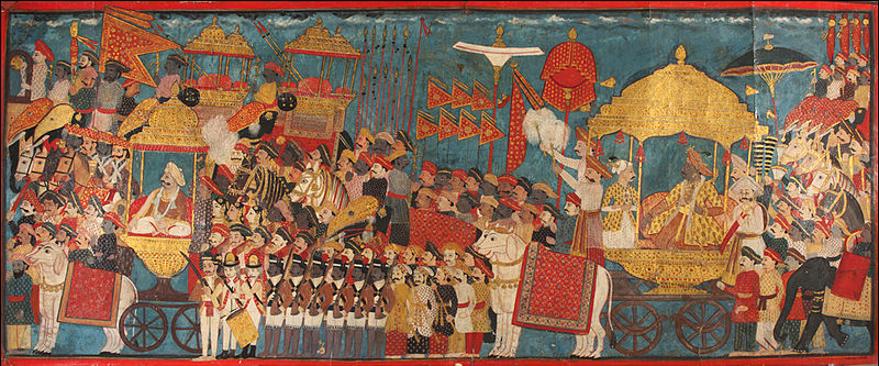 800px-Processional_scene_with_Amar_Singh,_ruler_of_Thanjavur_(Tanjore)_(1787-98)_and_Sarabhoji_(1798-1832)