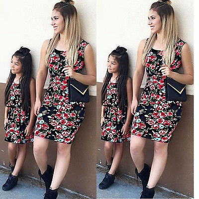4-Styles-Family-Matching-Outfits-Dress-Women-Mother-Daughter-Matching-Dresses-Summer-Girl-Dress-Clothes-Outfit