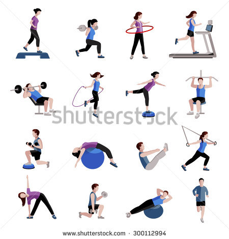 stock-vector-fitness-cardio-exercise-and-equipment-for-men-women-two-tints-flat-icons-collections-abstract-300112994
