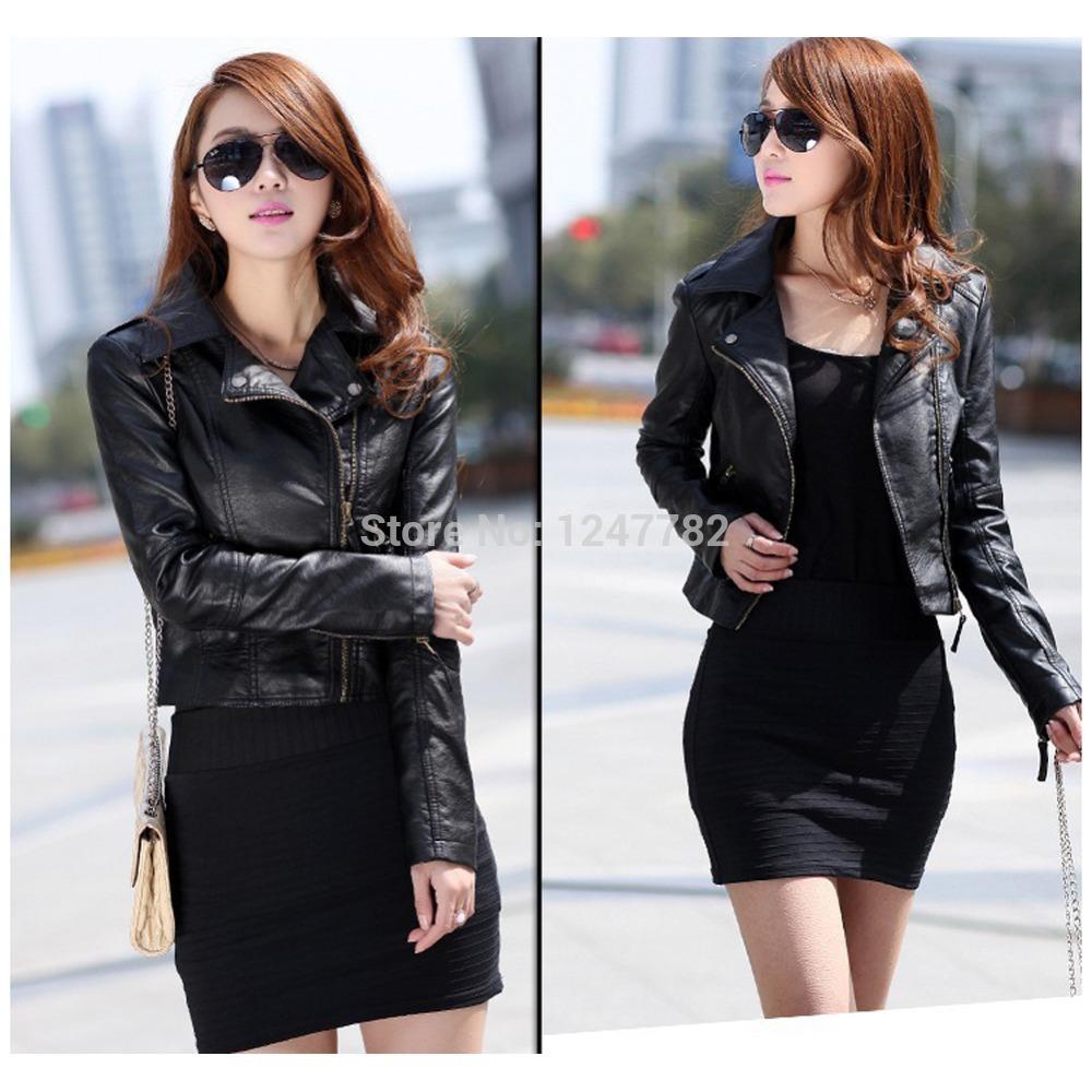 Teenloveme-New-Fashion-Women-Faux-Leather-Jacket-Metal-Button-Zipper-Lady-Crop-Jacket-Short-Biker-Coat