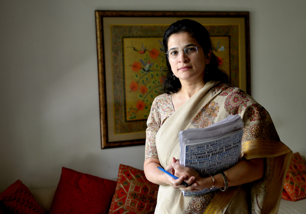 An activist Anjali Bhardwaj of the National Campaign for Peoples Right to Information poses for a profile shoot in New Delhi, India. (Photo by Priyanka Parashar/Mint via Getty Images)